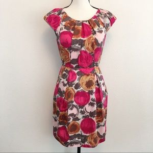 BCBG Maxazria Begonia Combo Floral Silk Dress S